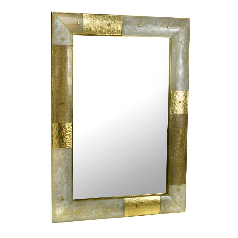 Brutalist Placche Mirror, Murano glass curved panels set in a Brass Frame For Sale
