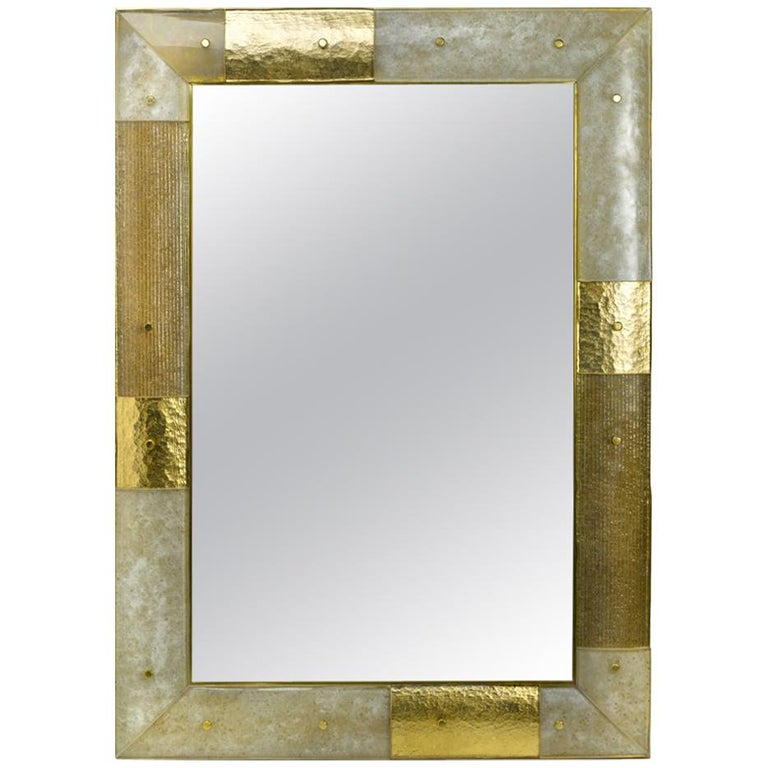 Placche Mirror, Murano glass curved panels set in a Brass Frame For Sale