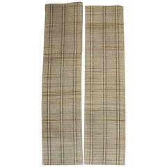 Plaid American Rag Rug Runners, Set of 2, Mid-20th Century