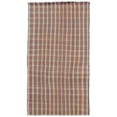 Plaid Design Vintage Turkish Kilim Rug with Stripes in Red, Navy Blue and Cream