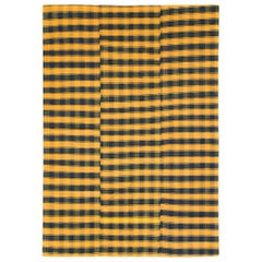 Plaid Mid-20th Century Handmade Turkish Flat-Weave Kilim Room Size Accent Rug