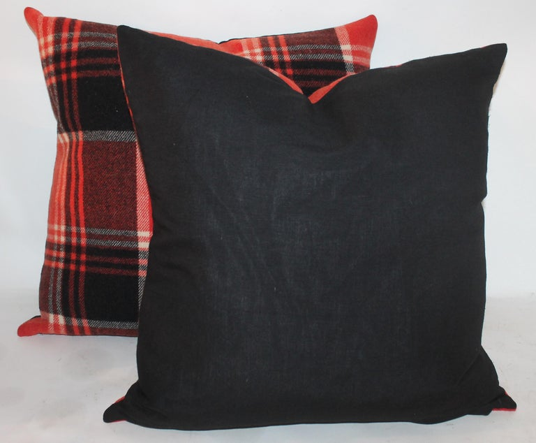 American Plaid Pendleton Blanket Pillows or Pair For Sale