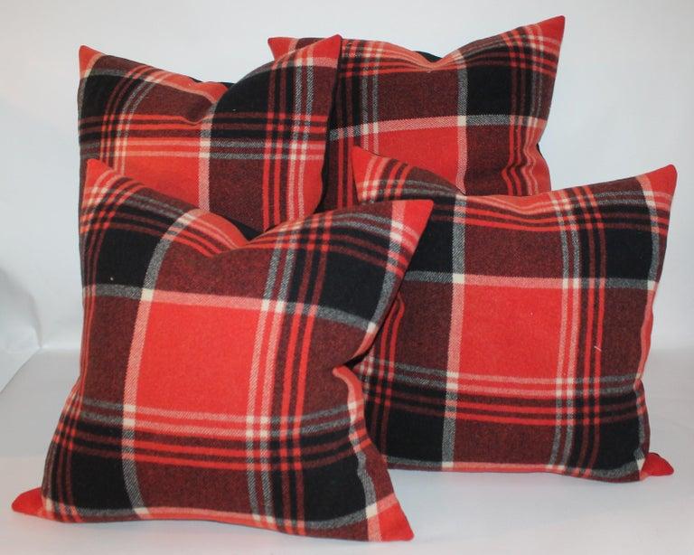 Adirondack Plaid Pendleton Blanket Pillows, Pair For Sale