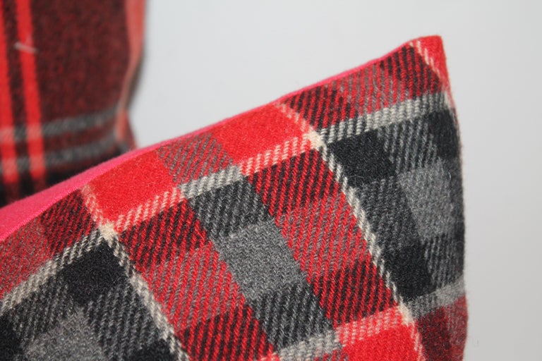American Plaid Pendleton Blanket Pillows, Pair For Sale