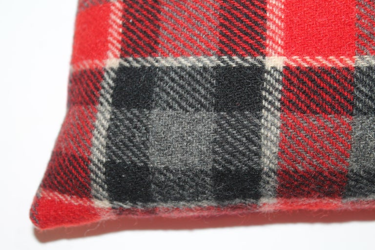 Hand-Crafted Plaid Pendleton Blanket Pillows, Pair For Sale
