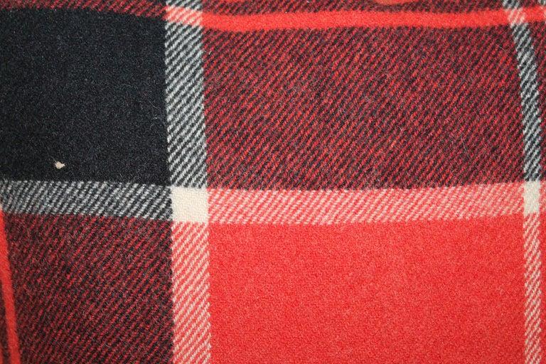 20th Century Plaid Pendleton Blanket Pillows, Pair For Sale