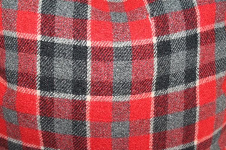 Wool Plaid Pendleton Blanket Pillows, Pair For Sale