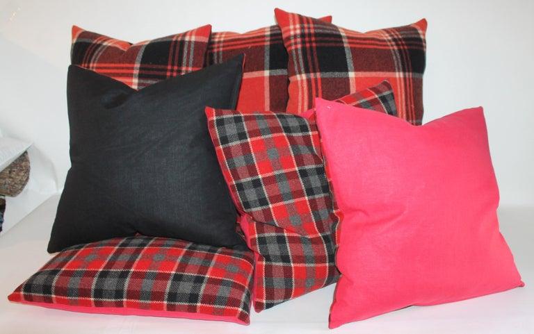 Plaid Pendleton Blanket Pillows, Pair For Sale 1