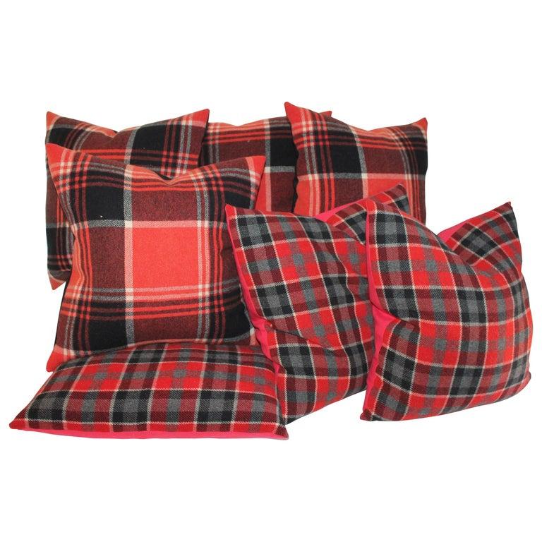 Plaid Pendleton Blanket Pillows, Pair For Sale