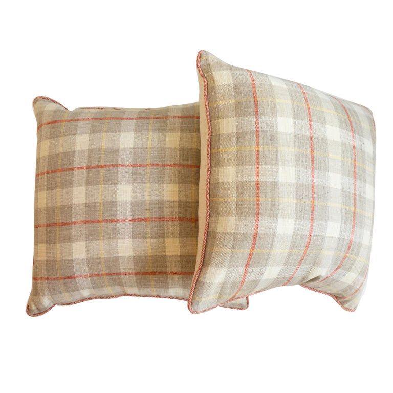 Country Plaid Square Throw Pillow For Sale