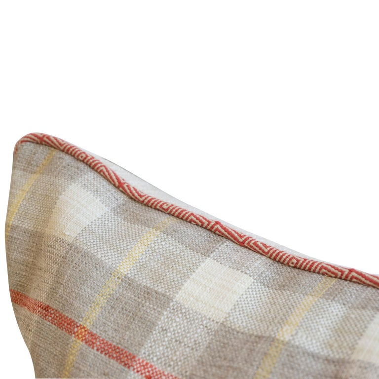Plaid Square Throw Pillow In Excellent Condition For Sale In Greenwich, CT