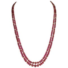 Plain and Smooth Ruby Beads with 14 Karat Gold Beads