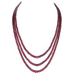 Plain and Smooth Ruby Beads with a Ruby Cabochon Clasp