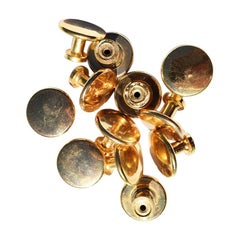 Plain Gold Round Circular Cabinet Knobs, 20th Century