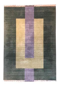 Plain Green - Geometric Green Beige Grey Flat Weave Wool Rug by Carpets CC