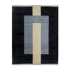 """Plain Grey"" Flatweave Black Cream Wool Rug by Cecilia Setterdahl for Carpets CC"