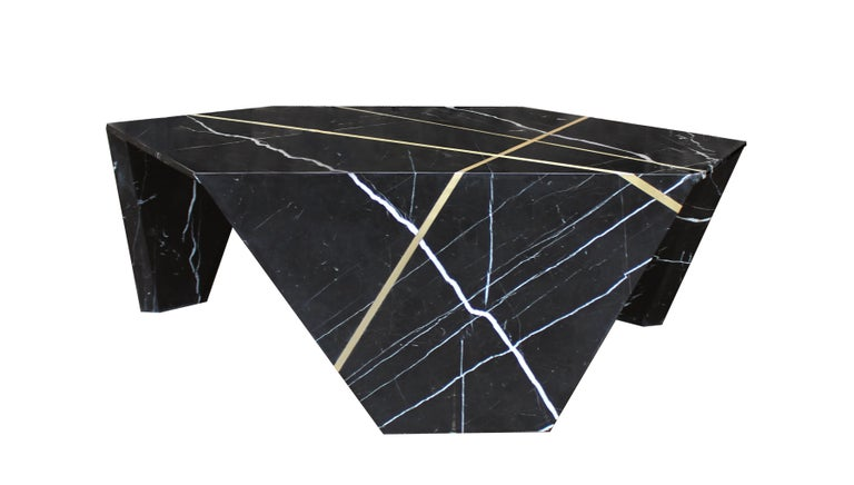 Modern Planar Sculptural Black Marble Cocktail Table with Inlaid Bronze For Sale
