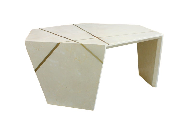 Polished Planar Sculptural Black Marble Cocktail Table with Inlaid Bronze For Sale