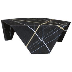 Planar Sculptural Marble Cocktail Table with Inlaid Bronze