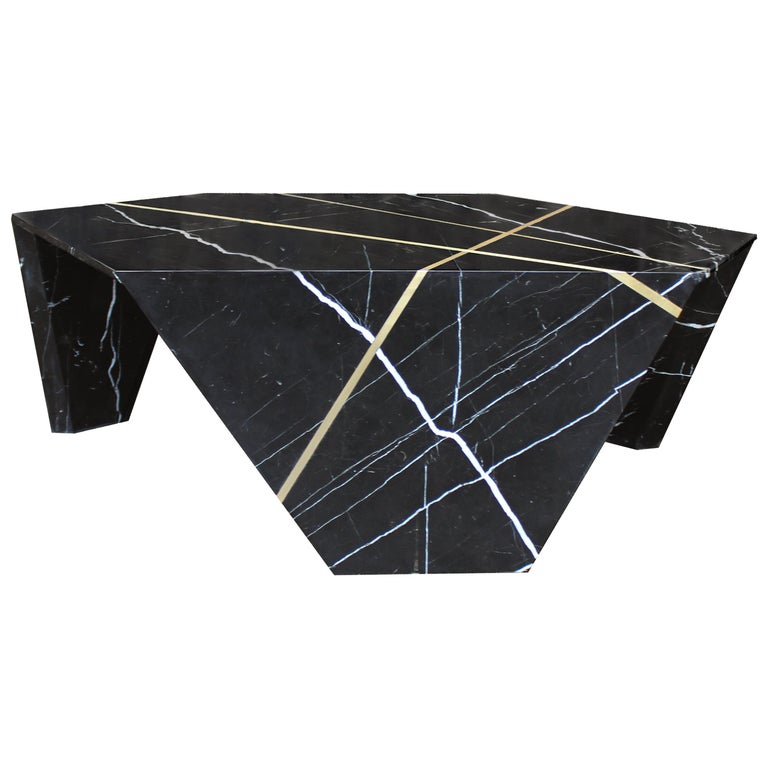 Planar Sculptural Marble Cocktail Table with Inlaid Bronze For Sale