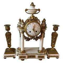 Planchon, Paris Japy Feres Bronze and Marble Clock Set