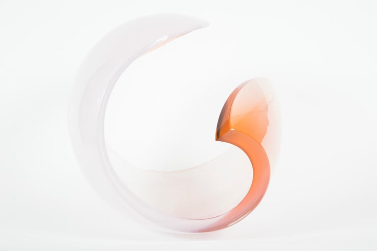 Swedish Planet in White & Apricot glass sculpture and centrepiece by Lena Bergstrom For Sale