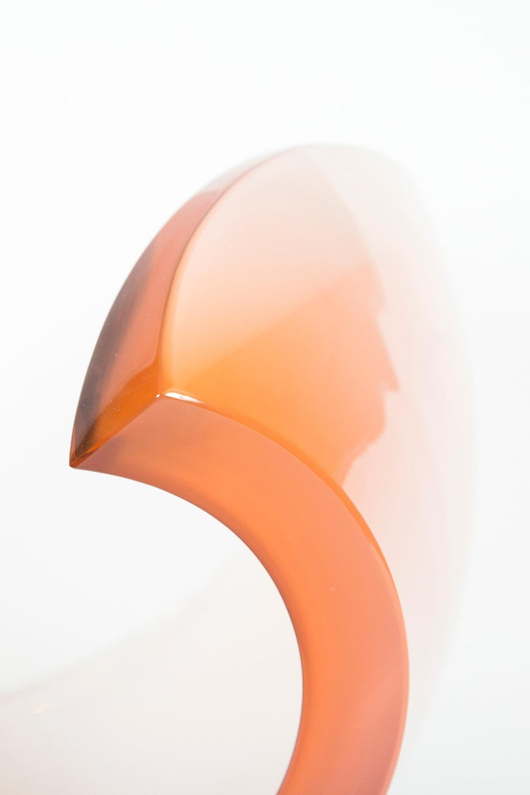 Planet in White & Apricot glass sculpture and centrepiece by Lena Bergstrom In New Condition For Sale In London, GB