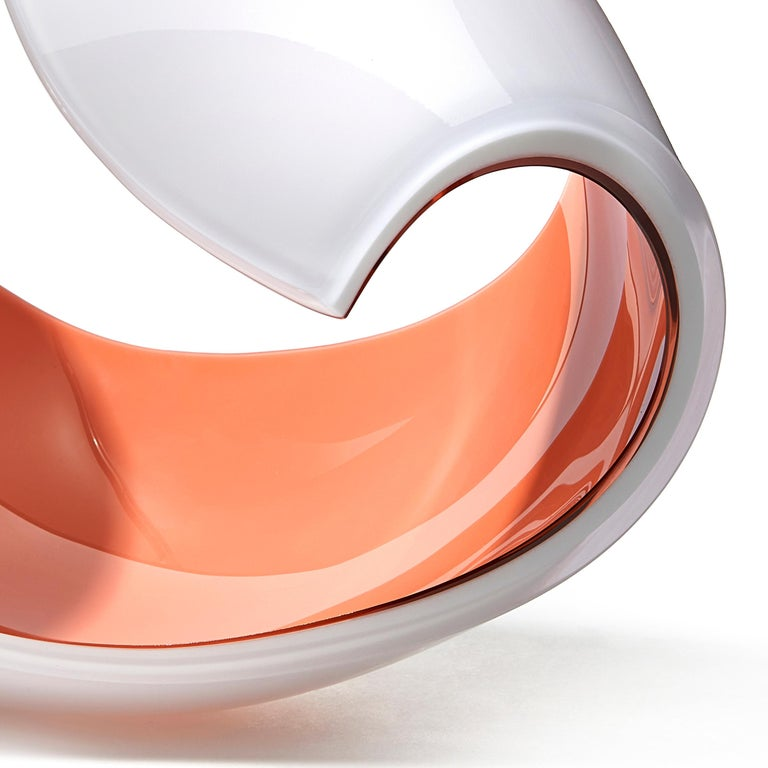 Organic Modern Planet in White and Peach, a Unique Art Glass Sculpture by Lena Bergström For Sale