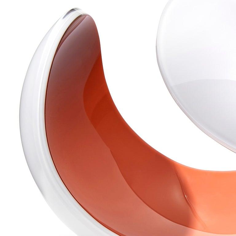 Swedish Planet in White and Peach, a Unique Art Glass Sculpture by Lena Bergström For Sale