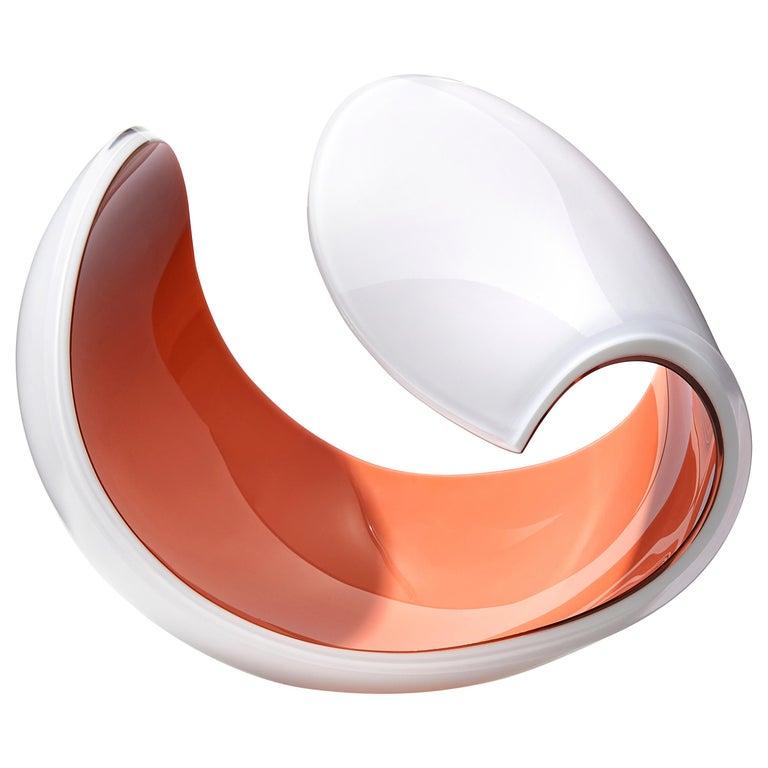 Planet in White and Peach, a Unique Art Glass Sculpture by Lena Bergström For Sale