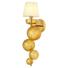 21st Century sconce 1 arm Amber Murano Glass Organza Lampshade by Multiforme