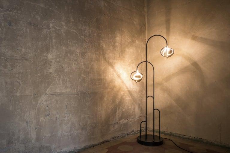 Planetaria Floor Lamp, Black Steel Frame and Brass Sphere by Lara Bohinc For Sale 2