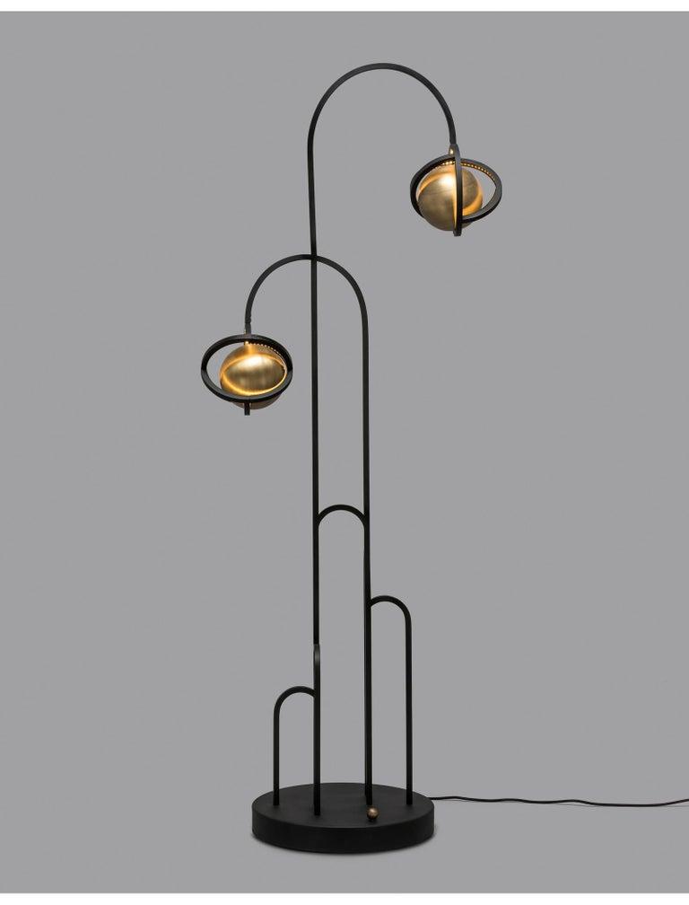Modern Planetaria Floor Lamp, Black Steel Frame and Brass Sphere by Lara Bohinc For Sale