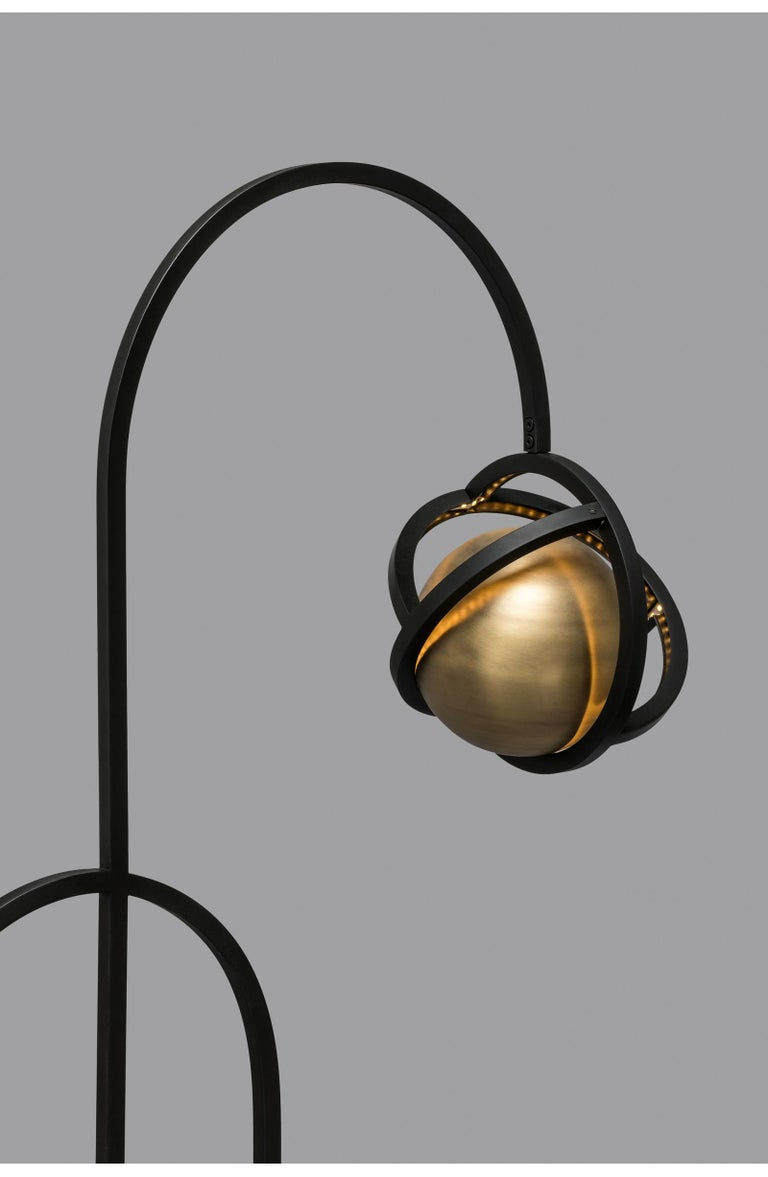 Portuguese Planetaria Floor Lamp, Black Steel Frame and Brass Sphere by Lara Bohinc For Sale