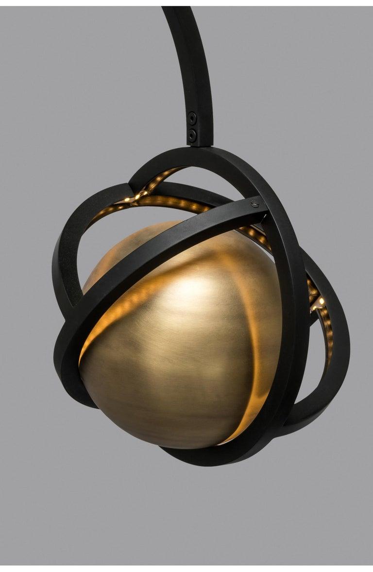 Metalwork Planetaria Floor Lamp, Black Steel Frame and Brass Sphere by Lara Bohinc For Sale