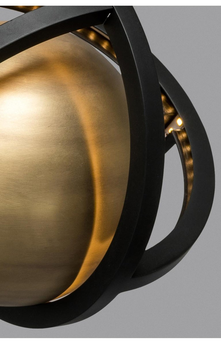 Planetaria Floor Lamp, Black Steel Frame and Brass Sphere by Lara Bohinc In New Condition For Sale In London, GB