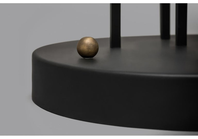 Contemporary Planetaria Floor Lamp, Black Steel Frame and Brass Sphere by Lara Bohinc For Sale