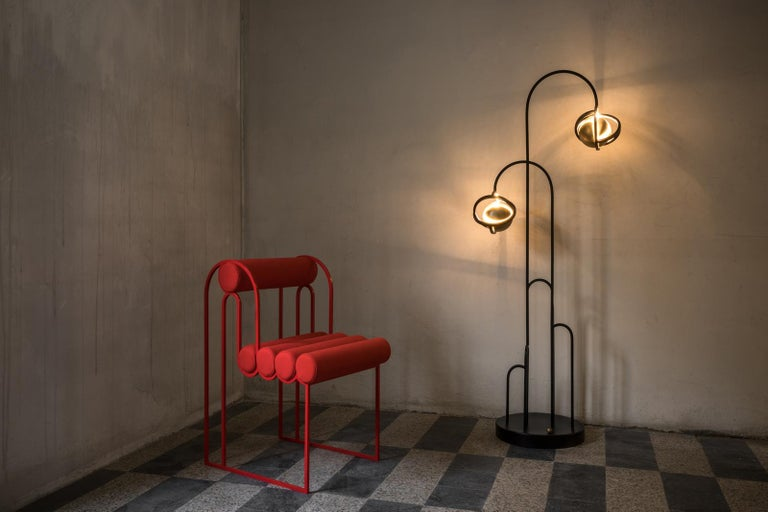 Planetaria Floor Lamp, Black Steel Frame and Brass Sphere by Lara Bohinc For Sale 3