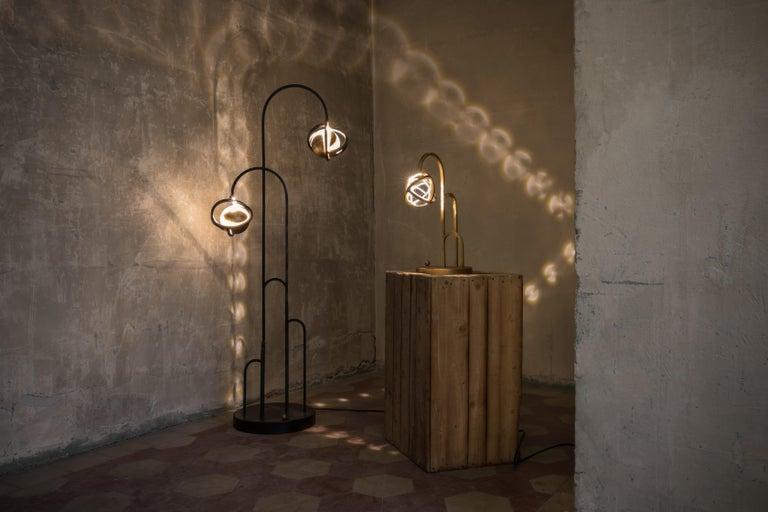 Planetaria Floor Lamp, Black Steel Frame and Brass Sphere by Lara Bohinc For Sale 4