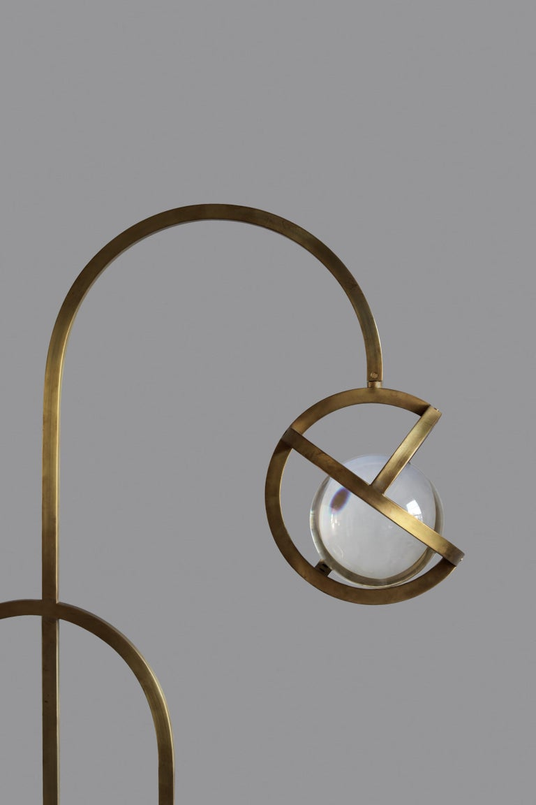 Modern Planetaria Floor Lamp, Dark Brass Frame and Glass Sphere by Lara Bohinc For Sale