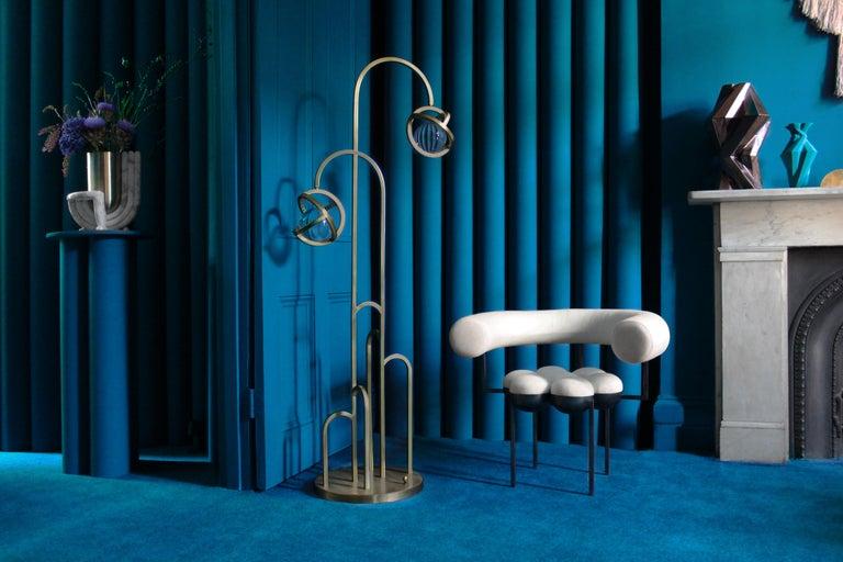 Portuguese Planetaria Floor Lamp, Dark Brass Frame and Glass Sphere by Lara Bohinc For Sale
