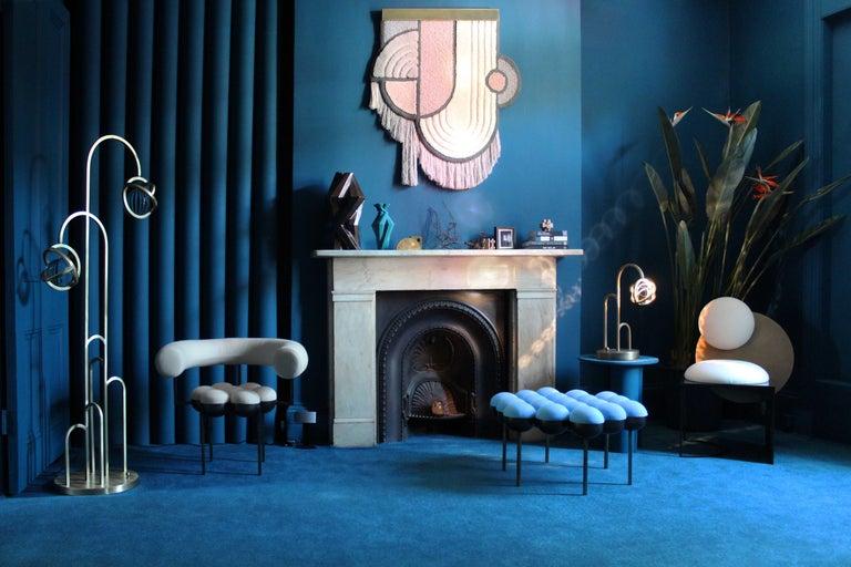 Metalwork Planetaria Floor Lamp, Dark Brass Frame and Glass Sphere by Lara Bohinc For Sale