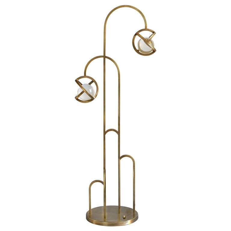 Planetaria Floor Lamp, Dark Brass Frame and Glass Sphere by Lara Bohinc For Sale