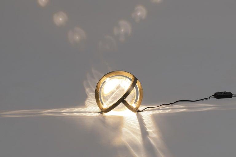 Modern Planetaria Globe Table Lamp, Dark Brass Frame and Glass Sphere by Lara Bohinc For Sale