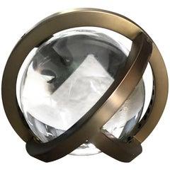 Planetaria Globe Table Lamp, Dark Brass Frame and Glass Sphere by Lara Bohinc