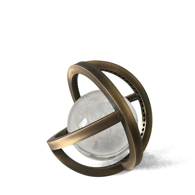 Modern Planetaria Globe Table Lamp Large, Dark Brass Frame, Glass Sphere, Lara Bohinc For Sale