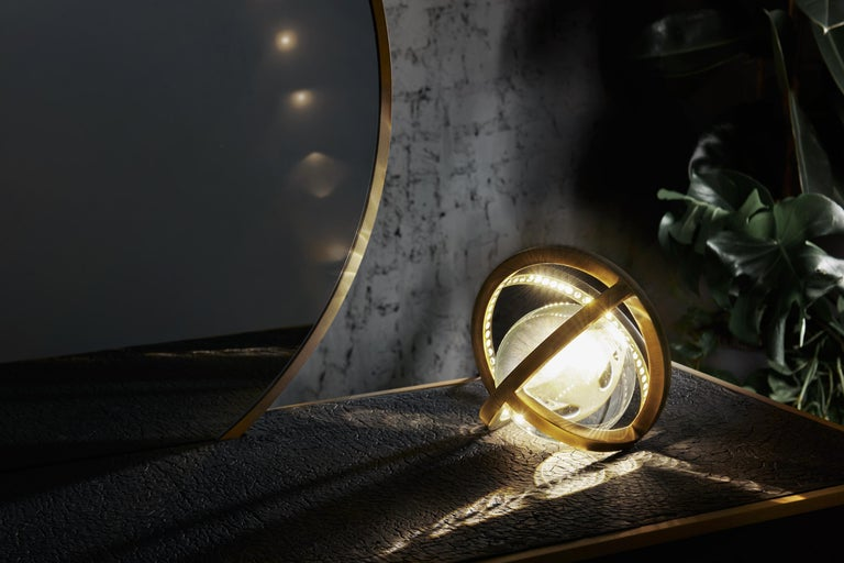 Portuguese Planetaria Globe Table Lamp Large, Dark Brass Frame, Glass Sphere, Lara Bohinc For Sale