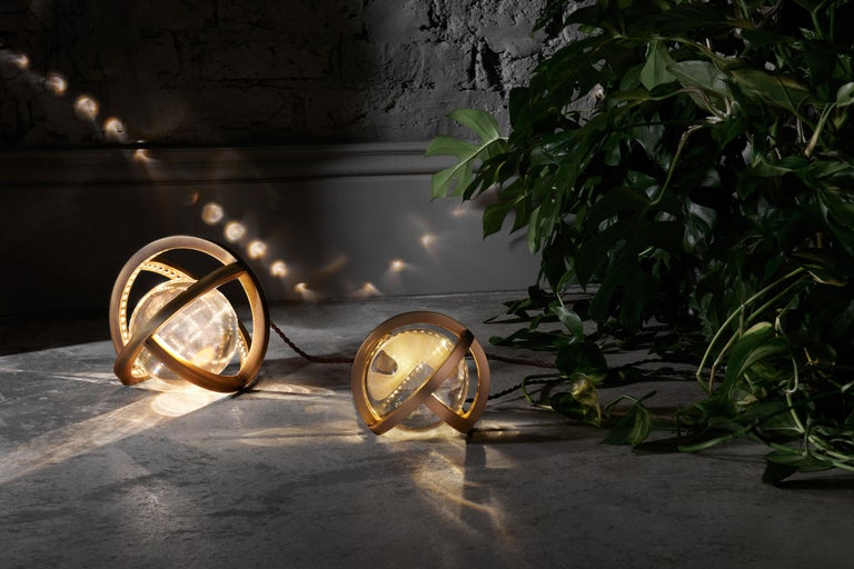 Metalwork Planetaria Globe Table Lamp Large, Dark Brass Frame, Glass Sphere, Lara Bohinc For Sale
