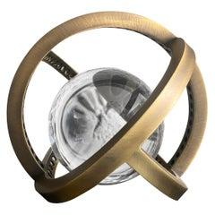 Planetaria Globe Table Lamp Large, Dark Brass Frame, Glass Sphere, Lara Bohinc