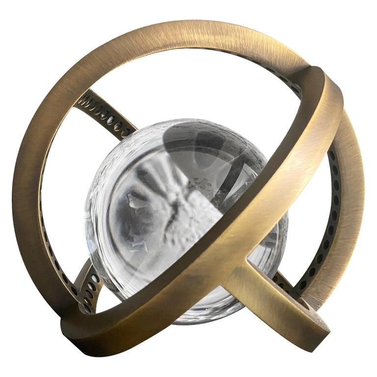Planetaria Globe Table Lamp Large, Dark Brass Frame, Glass Sphere, Lara Bohinc For Sale